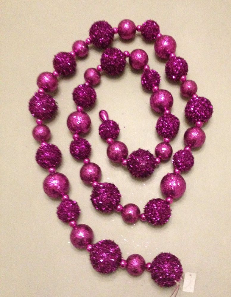 Purple Glitter & Sequin Pom Pom Ball Garland ~ Christmas Decoration